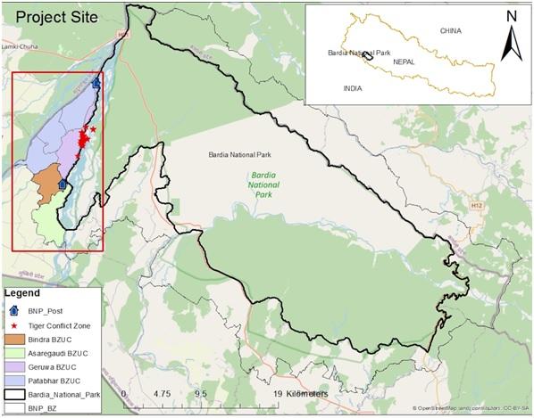 Localisation des attaques de tigre © NTNC